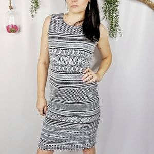 ♻️PHILOSOPHY jacquard bodycon dress black white432